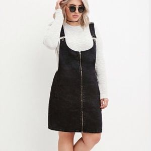 Forever 21 Plus Size Black Zip Front Overall Dress